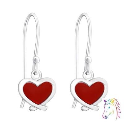 Piros szíves akasztós fülbevaló - A4S16664
