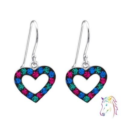 Szív formájú, színes köves akasztós fülbevaló - A4S18314