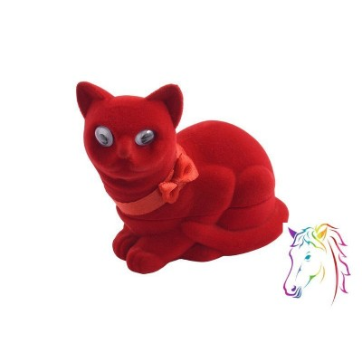 Piros cica bársony ékszerdoboz