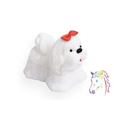 Fehér kutya bársony ékszerdoboz, fiú csokornyakkendőbel