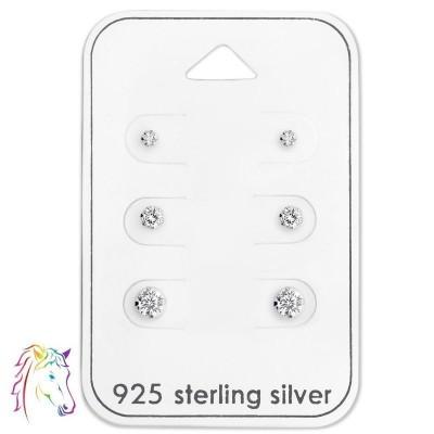 Stift fehér köves fülbevaló ezüst ékszer szett - A4S28459