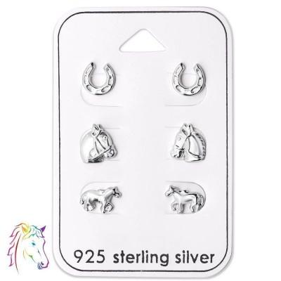 Lovas stift fülbevaló ezüst ékszer szett - A4S28464