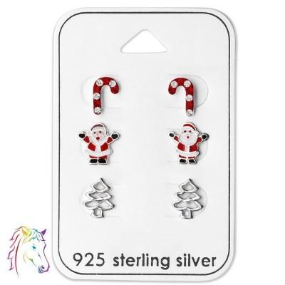 Karácsonyi stift fülbevaló, szett ezüst ékszer - A4S28468