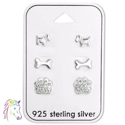 Kutyás stift fülbevaló ezüst ékszer szett - A4S28479