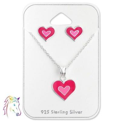 Pink szíves stift fülbevaló és nyaklánc ezüst ékszer szett - A4S28978
