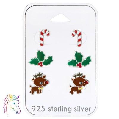 Karácsonyi fülbevaló szett, stift ezüst ékszer kollekció - A4S30770