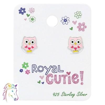 Rózsaszín bagoly stift fülbevaló ajándék kártyán - A4S34103