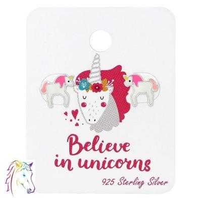 Pink unikornis stift fülbevaló ajándék kártyán - A4S34204