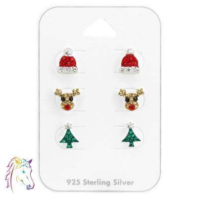 Karácsonyi stift ezüst fülbevaló ékszer szett - A4S38082