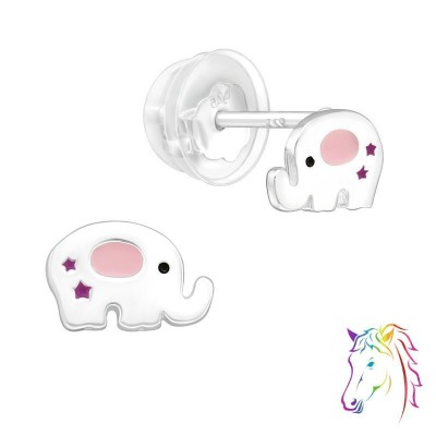 Elefánt szilikon záróvéggel prémium ezüst színes fülbevaló - A4S39988