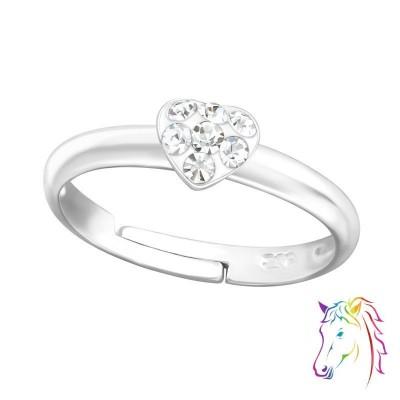 Kristály szíves ezüst gyűrű - A4S19433