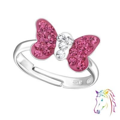 Pink kristály pillangó ezüst gyűrű - A4S24012