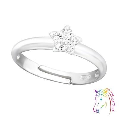 Kristály csillagos ezüst gyűrű - A4S24013