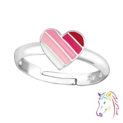 Pink szivárvány szíves ezüst gyűrű - A4S35320