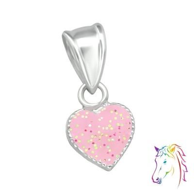 Rózsaszín szív ezüst medál - A4S36922