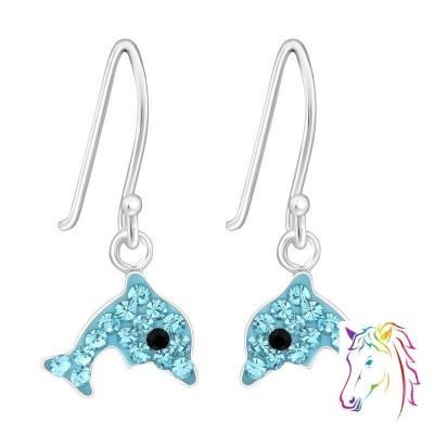 Kék kristályos delfin akasztós ezüst fülbevaló - A4S4383