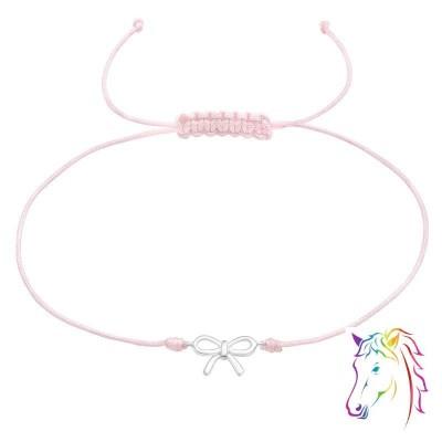 Masni zsinóros rózsaszín ezüst karkötő - A4S38181