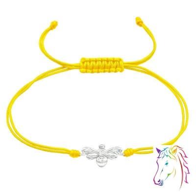 Méh sárga zsinóros ezüst karkötő - A4S38999