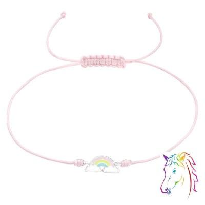 Szivárvány rózsaszín zsinóros ezüst karkötő - A4S39665