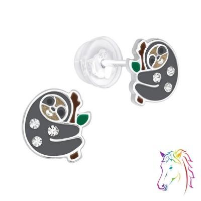 Lajhár ezüst kristály fülbevaló - A4S40072