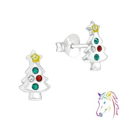 Díszes karácsonyfa ezüst kristály fülbevaló - A4S40315