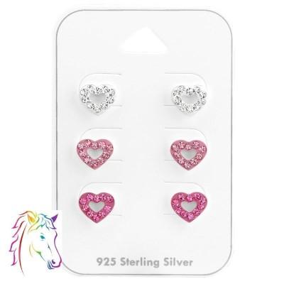 3 pár kristály szív ezüst ékszerszett - A4S38079