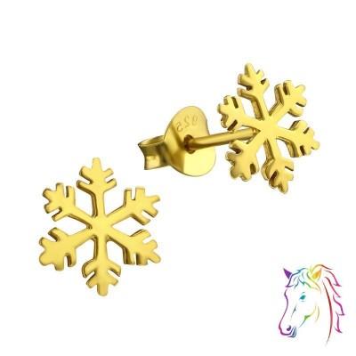 18k aranyozott hópehely ezüst stift fülbevaló - A4S21459