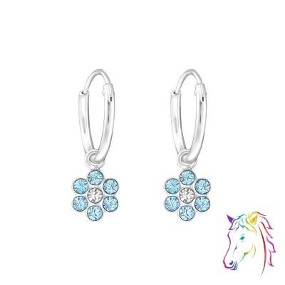 Kék virágos ezüst La Crystale kairka fülbevaló - A4S32876