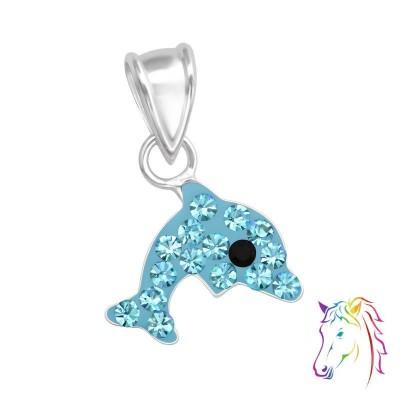 Kék kristály delfin ezüst medál - A4S35263