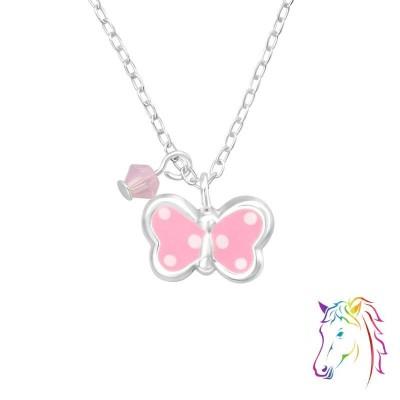 Pink La Crystale pillangós ezüst nyaklánc - A4S32740