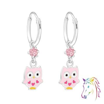 Bagoly La Crystale pink karika ezüst gyermek fülbevaló - A4S32900