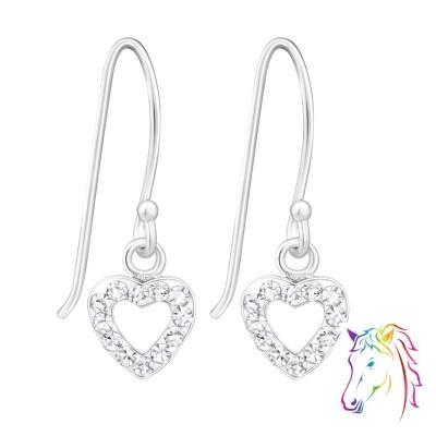 Szíves kristály akasztós ezüst fülbevaló - A4S21801