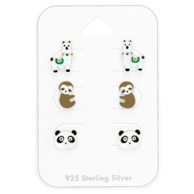 Láma, lajhár, panda fülbevaló szett - A4S41479