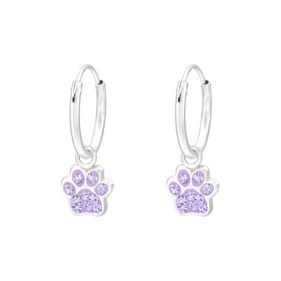 Kutya mancs kristály ezüst karika fülbevaló - A4S41574