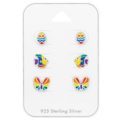 Szivárványos stift ezüst fülbevaló készlet - A4S38724
