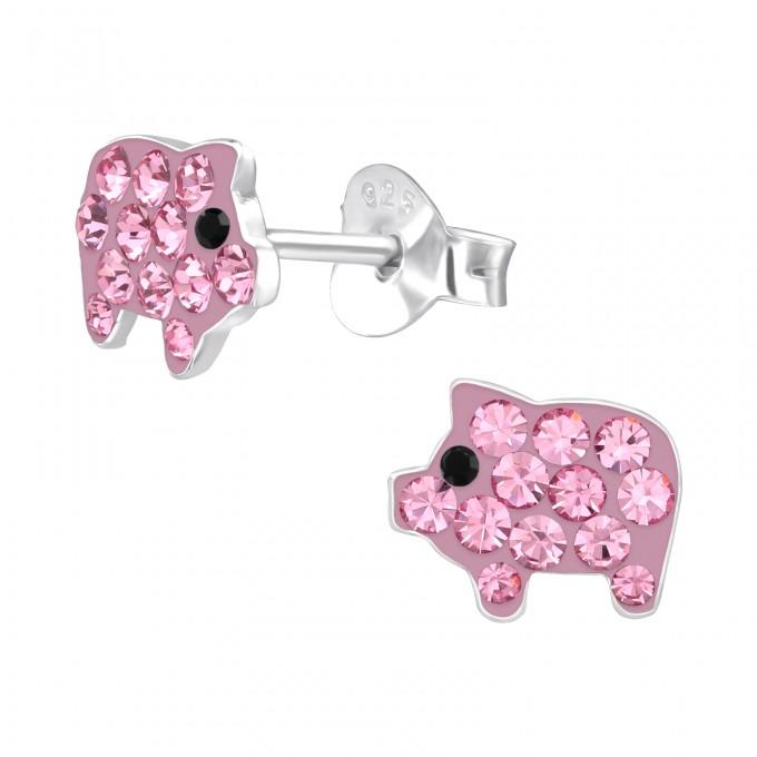 Malac rózsaszín kristályos stift ezüst gyerek fülbevaló - A4S42037