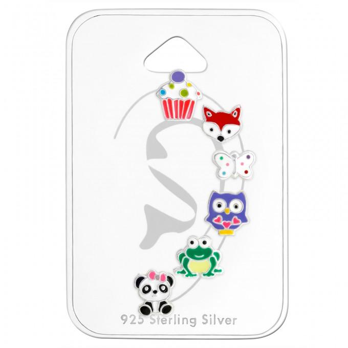 6 részes ezüst stift gyermek fülbevaló készlet - A4S29130