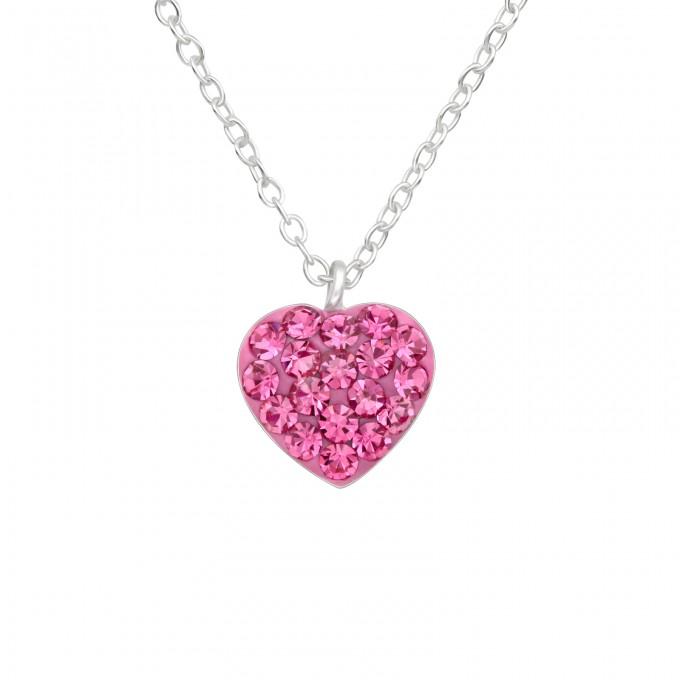 Pink kristályos ezüst szív formájú nyaklánc - A4S41599