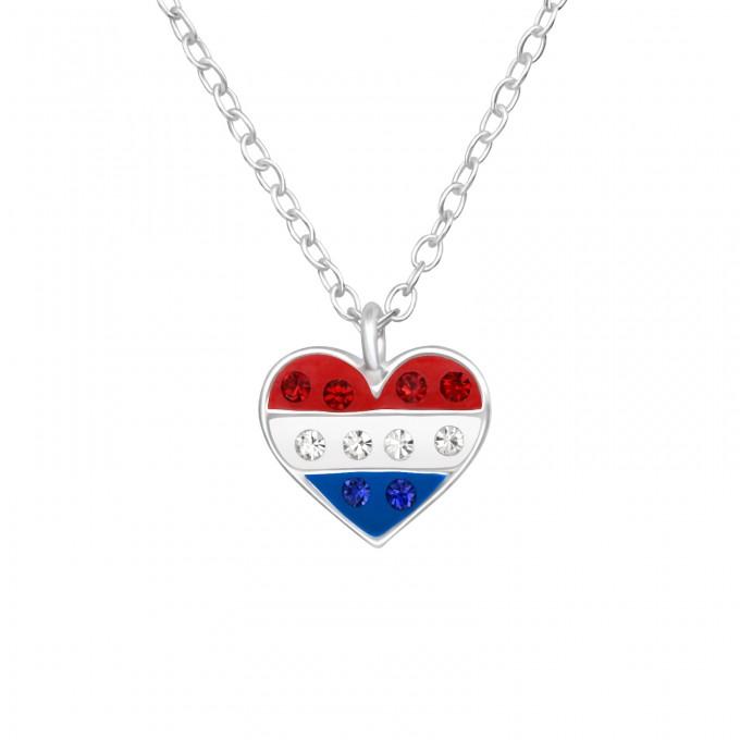 Szív medálos angol, amerikai zászlós kristályos ezüst nyaklánc -  A4S42192