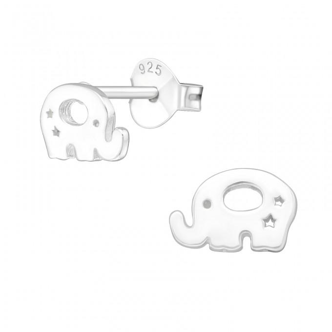 Elefánt egyszerű stift ezüst gyerek fülbevaló - A4S20566