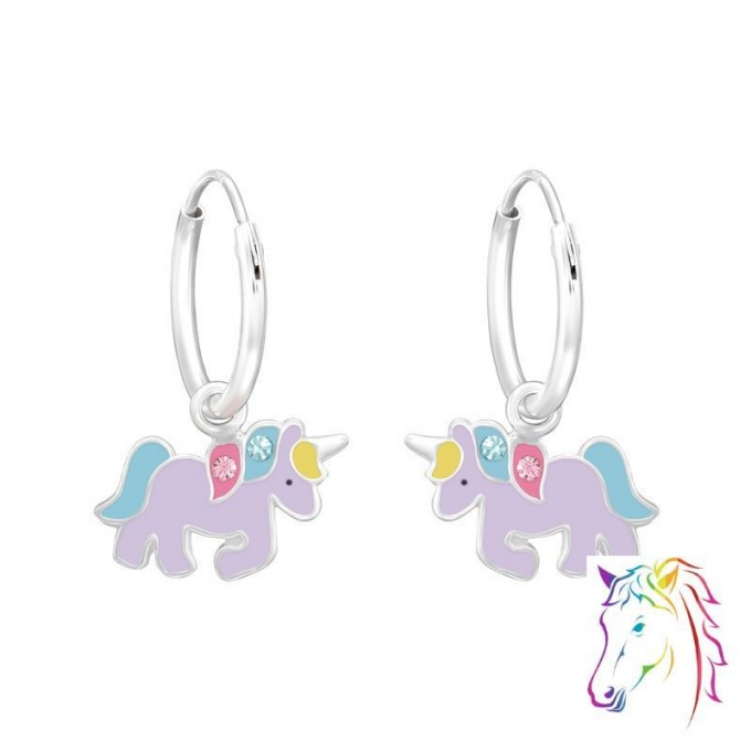 Egyszarvú lila, kristály ezüst karika fülbevaló - A4S41460