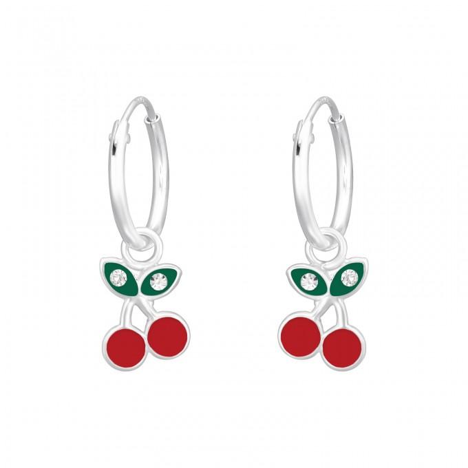 Cseresznye kristály ezüst karika fülbevaló - A4S41462