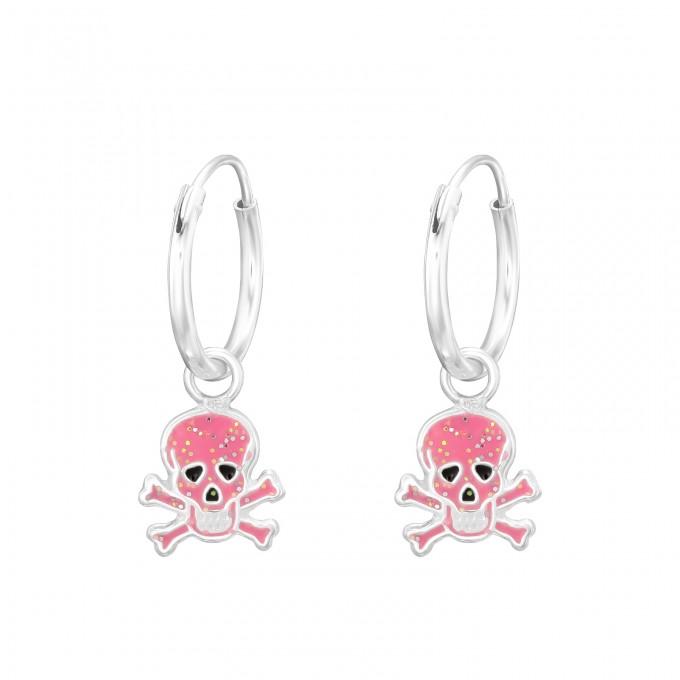 Rózsaszín koponya ezüst karika fülbevaló - A4S41550
