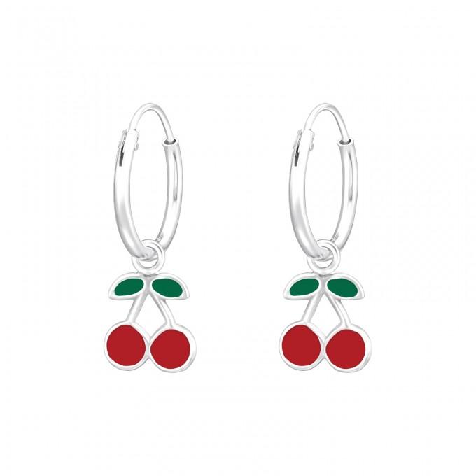 Gyümölcs ezüst karika fülbevaló (meggy, cseresznye) - A4S41554
