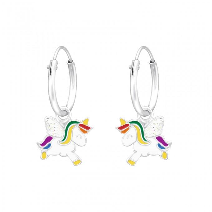 Szivárvány színes egyszarvú ezüst karika fülbevaló - A4S41555