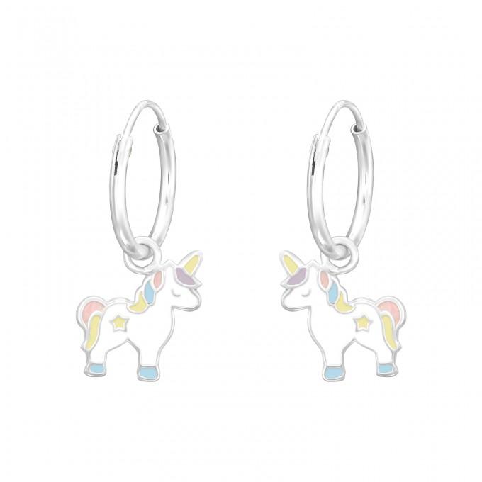 Egyszarvús ezüst karika fülbevaló - A4S41556