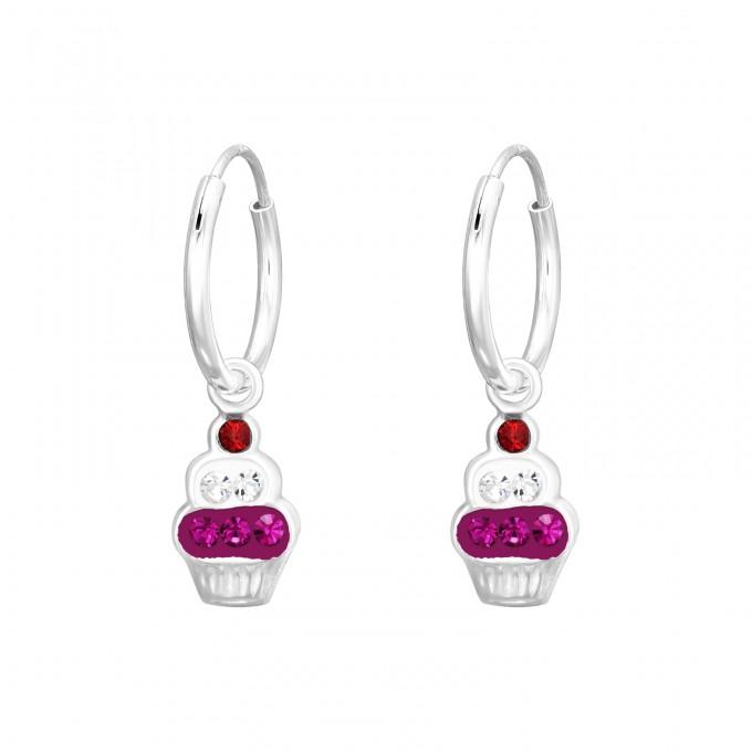 Sütemény kristály ezüst karika fülbevaló - A4S41578