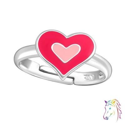 Pink, rózsaszín szív állítható 925 ezüst gyermek gyűrű - A4S12595