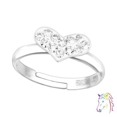 Fehér köves szív állítható 925 ezüst gyermek gyűrű - A4S15407