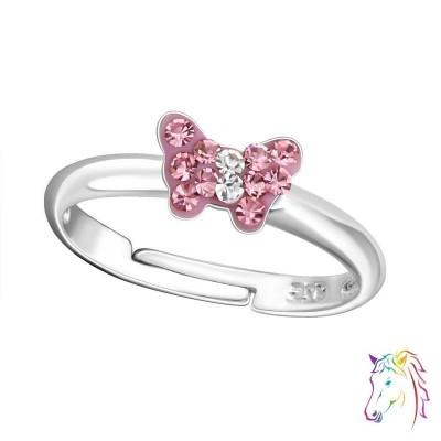 Rózsaszín köves kis pillangós állítható 925 ezüst gyermek gyűrű - A4S19434
